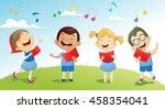 groups of school children... | Shutterstock .eps vector #458354041