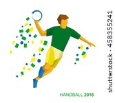 handball player in green and... | Shutterstock .eps vector #458355241