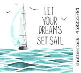 sailboat in the sea and... | Shutterstock .eps vector #458355781