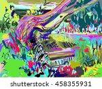 plein air digital painting of...   Shutterstock .eps vector #458355931