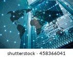 double exposure of world map... | Shutterstock . vector #458366041