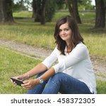 beautiful woman in white shirt... | Shutterstock . vector #458372305