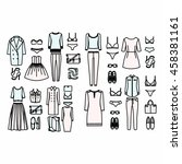 set of women's clothes drawn in ... | Shutterstock .eps vector #458381161