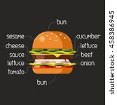 burger ingredients on... | Shutterstock .eps vector #458386945