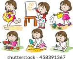 girls activity | Shutterstock .eps vector #458391367