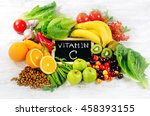 foods high in vitamin c on... | Shutterstock . vector #458393155