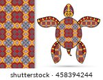 decorative turtle with ornament ... | Shutterstock .eps vector #458394244