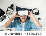 Top View Of Man Wearing Virtual ...