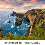 dramatic summer sunset on... | Shutterstock . vector #458406067