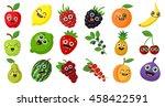 happy smiling fruits on white... | Shutterstock .eps vector #458422591