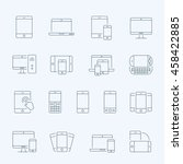 thin lines icon set  ... | Shutterstock .eps vector #458422885
