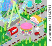 isometric amusement park with... | Shutterstock .eps vector #458427955