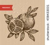 pomegranate illustration.... | Shutterstock .eps vector #458433031