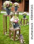 wedding ceremony with flower... | Shutterstock . vector #458444161