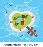 aerial view of island in the... | Shutterstock .eps vector #458447524