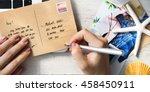 postcard communication... | Shutterstock . vector #458450911