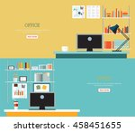 business office interior style  ... | Shutterstock .eps vector #458451655