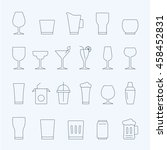 lines icon set   glass and... | Shutterstock .eps vector #458452831