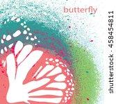 colored butterfly blot. vector... | Shutterstock .eps vector #458454811