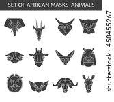 set of african masks animals.... | Shutterstock .eps vector #458455267