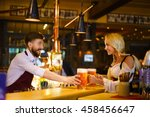 bartender and waitress at the... | Shutterstock . vector #458456647