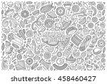 line art vector hand drawn... | Shutterstock .eps vector #458460427