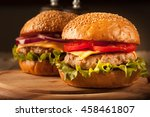 home made hamburger with beef ... | Shutterstock . vector #458461807