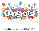 balloons with confetti and text ... | Shutterstock .eps vector #458463115