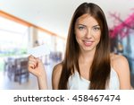 businesswoman holding blank... | Shutterstock . vector #458467474