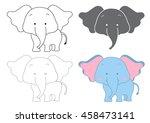 cartoon elephant. dot to dot... | Shutterstock .eps vector #458473141