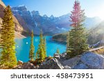 moraine lake is a glacially fed ... | Shutterstock . vector #458473951