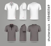 white black mens polo t shirt... | Shutterstock .eps vector #458480569