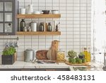 white tiles wall modern kitchen ... | Shutterstock . vector #458483131