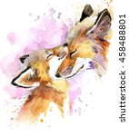 Fox And Baby. Watercolor...