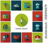 hospital and health icons set | Shutterstock .eps vector #458496079