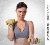 sport woman doing weightlifting ... | Shutterstock . vector #458497744