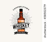 whiskey logotype with cartoon... | Shutterstock .eps vector #458502379