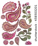 set of watercolor pink paisley  ... | Shutterstock . vector #458503201