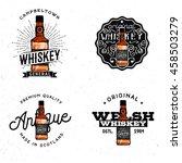 whiskey themed logotypes ...   Shutterstock .eps vector #458503279