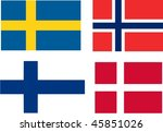 flags of Scandinavia - isolated illustration - stock photo