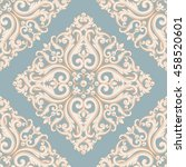 seamless damask pattern. blue... | Shutterstock . vector #458520601