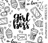 Cartoon cute girl's stuffs vector illustration with hand written inscription Girl Boss. Modern calligraphy card. Very feminine with pretty elements. Black on white isolated background.