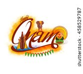 creative text onam with... | Shutterstock .eps vector #458529787