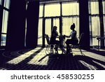 two women in a large office ... | Shutterstock . vector #458530255