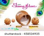 holiday symbols krishna... | Shutterstock . vector #458534935