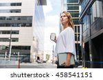 businesswoman with coffee... | Shutterstock . vector #458541151