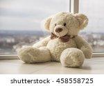 Fluffy White Teddy Bear With A...