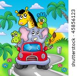 african animals in car on road  ... | Shutterstock . vector #45856123
