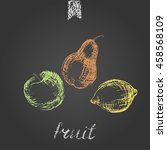 hand drawn colored chalk fruit... | Shutterstock .eps vector #458568109