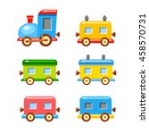 colorful vector wagons for a... | Shutterstock .eps vector #458570731
